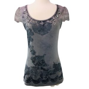 Studio Y Gray Embellished Top Shirt Lace Sleeves S